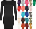 New Womens Long Sleeve Stretch Bodycon Ladies Plain Short Mini Dress Top 8-14