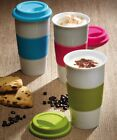 CERAMIC DOUBLE WALLED TAKEAWAY TRAVEL MUG CUP COFFEE