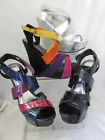 Ladies Black/Silver/Multi Spot On Wedge UK Sizes 3 - 8  F1918