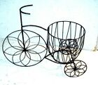 Wrought Iron Trike with Wire Basket Flower planter Pot holder metal bike rustic