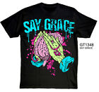 Goodie Two Sleeves Say Grace Zombie Brains Mens T-Shirt Halloween,horror,brains