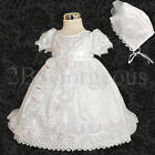 Infant Baby Girl Baptism Christening Dress Gown & Bonnet Flower Occasion 0-18Mon