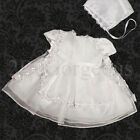 Infant Baby Girl Baptism Christening Dress Gown & Bonnet Flower Occasion 0-12M