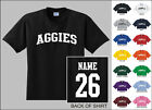Aggies College Letters Custom Name & Number Personalized T-shirt