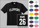 Clippers College Letters Custom Name & Number Personalized Basketball T-shirt