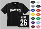 Hawks College Letters Custom Name & Number Personalized Basketball T-shirt