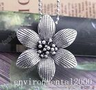 1Pcs Antiques Silver Big Flower Necklace Sweater Chain Pendant