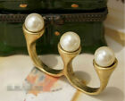 Fashion Vintage Bronze Style 3Pcs Pearl two Finger Ring 6 resize