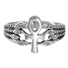 Egyptian Ankh Protective Serpent Ring SS Sterling Silver sz 4-15 Kemetic Symbol