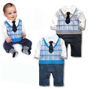 Boy Baby Formal Suit Tuxedo Set Romper Pants 0-24M One-piece Outfit Jumpsuit