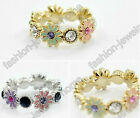 fashion mixed crystal daisy gold silver plated rings
