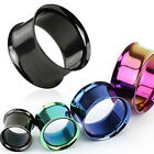 PAIR Titanium Ion Plated Double Flare Tunnels Plugs Earlets Gauges Body Jewelry image