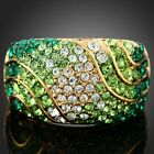 Emerald S Shape Stripe Cocktail Ring 18k Yellow Gold GP Swarovski Clear Crystal