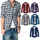 New Mens Slim Fit Casual & Dress Plaid Check Shirt Korean Style Blue Red Black