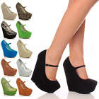 WOMENS LADIES HIGH HEEL WEDGE PLATFORM MARY JANE STYLE FULL TOE SHOES SIZE