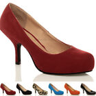 WOMENS LADIES MID HEEL PUMPS CONCEALED PLATFORM WORK COURT SHOES SIZE