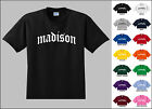 City of Madison Old English Font Vintage Style Letters T-shirt