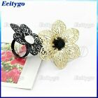 Fashion Hollow Black/Gold Six Leaves Flower Crystal Rhinestone Adjustable Ring