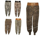 H74 NEW WOMEN LEOPARD PRINT PLUS SIZE ALI BABA HAREM CUFFED LADIES TROUSERS 8-18