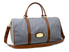 New Luxury Striped Tote Bag Shoulder Luggage Travel Duffle/ Burgundy, Navy