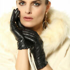 Women real lambskin Leather gloves with nice cuff L001NC