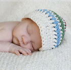 Melondipity Boy Visor Beanie Crochet Baby Hat Striped Red Green Blue White Knit