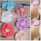 1x 2 Row Pearl Bead Stretch Bandeaux Hair Head Bands with Large Fabric Flower