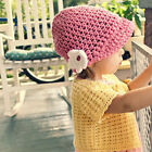 Rose Pink Visor Beanie Crochet Baby Hat with Flower