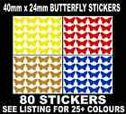 80 x Butterfly Shaped Coloured Stickers, 40mm x 24mm, Sticky Label Many Colours
