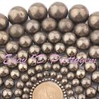 4MM 6MM 8MM 10MM 12MM 20MM ROUND SILVER GRAY PYRITE GEMSTONE BEADS SREAND 15""