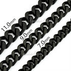 7/9/11mm Simple Mens Chain Boys Black Tone Curb Link Stainless Steel Necklace