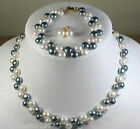 Fashion 4 colors true pearl necklace bracelet earring sets