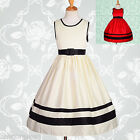 Flower Girl Dresses Wedding Bridesmaid Party Satin Ivory Black Age 4y-10y #171