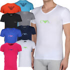 Emporio Armani Mens V-Neck T-Shirts Stretch Cotton Mens Armani Slim Fit Tops