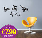 Childrens Wall Stickers Personalised Names Removable Stickers Motor Bikes A276