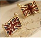 Antiaue Bronze Style Union Jack Flag Stud Earrings