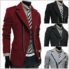 (PJK) THELEES Mens Casual Unbalance Zipper Slim Trench Coat Jacket