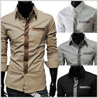 (TSH) THELEES Mens slim fit tie patched pocket shirts 4 COLOR