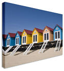 Large Modern Sandy Beach Huts Canvas Wall Art Pictures