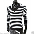 (DK10) THELEES Mens Casual Slim fit Unbalance, Stripe V-neck Long Sleeve Tshirt