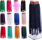 Ladies Chiffon Skirt Long Maxi Dress Colour Womens S Size M L XL 8 -18 With Belt