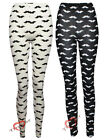 Women Moustache Print Full Length Legging Ladies Tights Trouser SZ-8-14