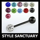 Ferido Crystal Tongue Bar Barbell Ear Nipple Ring Shamballa Anodized Titanium