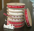 East of India Merry Christmas Ribbon Red, Snowflakes 3m Off Roll Xmas Decoration