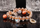 Exquisite Brown Pearl Full Glass Crystal Drop Charms Link Bracelet for PartyGift