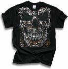 Mens Black T Shirt Biker Goth Big Skull of Skulls Sm - 3XL