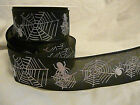 WIDE HALLOWEEN BLACK WHITE SPIDER RIBBON (40MM) SUITABLE CAKE CRAFT GIFT PARTY
