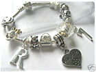 "CHILDRENS GIRLS 6"" DAUGHTER INITIAL LETTER AGE SILVER CHARM BRACELET 10 CHARMS"