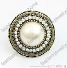 Beautiful Retro bronze imitate pearl Pave Round ring