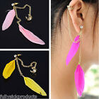 Mix Color Punk Long Chain Tassel Feather Crystal Earring Stud Ear Cuff Clip New